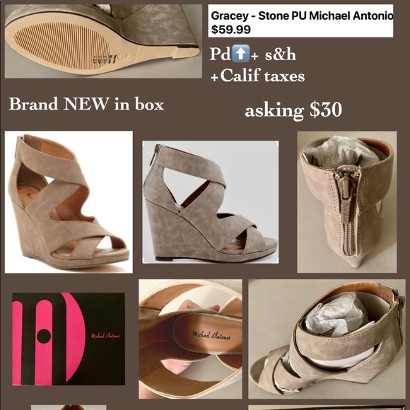 Michael Antonio Shoes - Brand NEW beige suede wedges, size 8 1/2